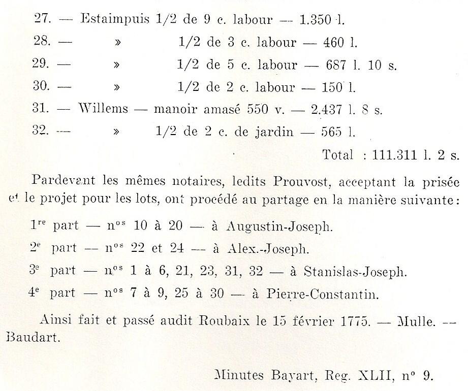 Biens Prouvost Florin XVIII eme siecle