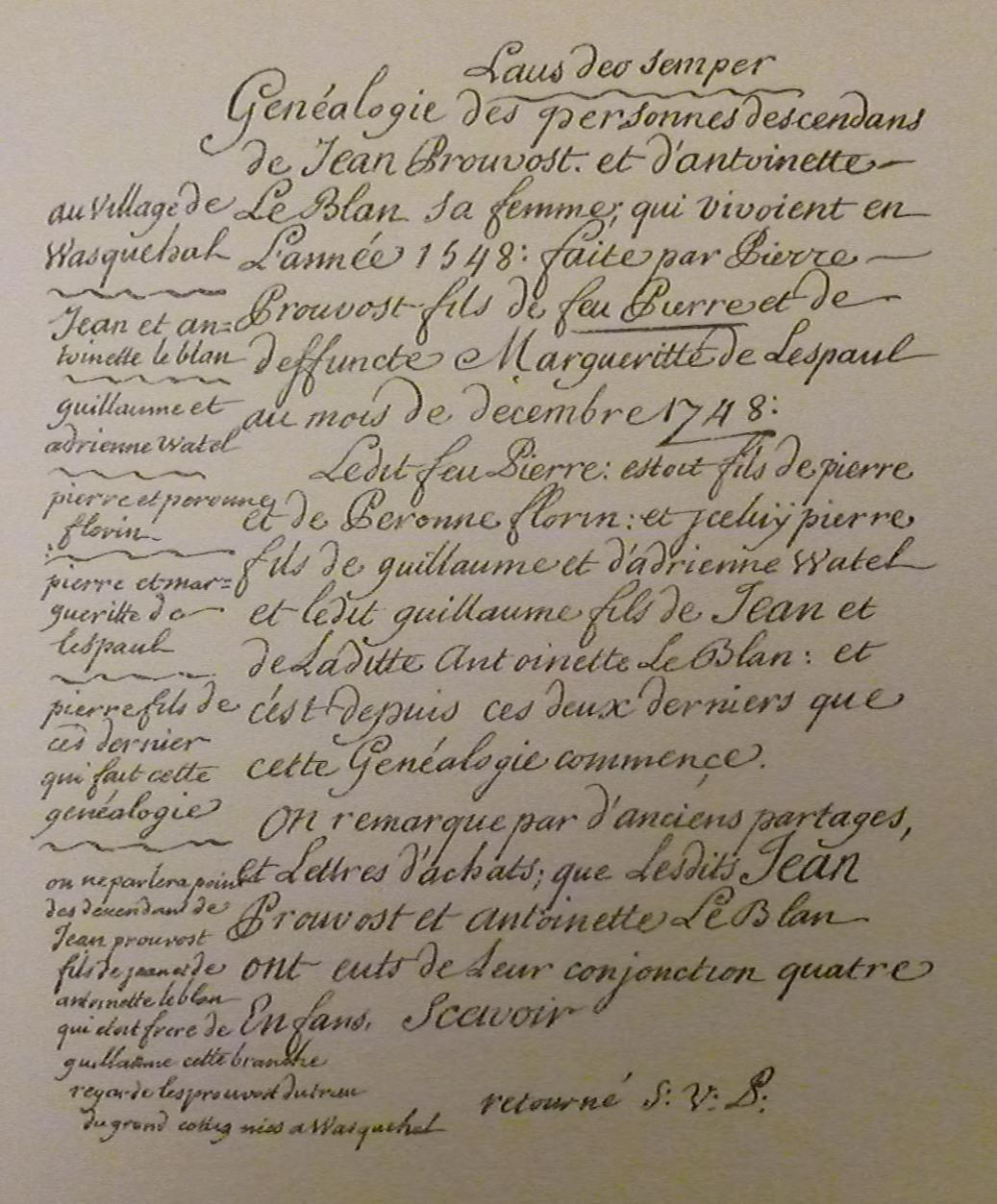 Genealogie-Pierre-Prouvost-Laus-Deo-Semper-1748
