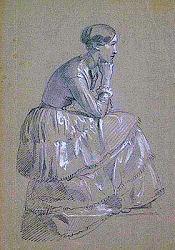 Julie Mottez, dessin de Chasseriau  , Fogg Art Museum