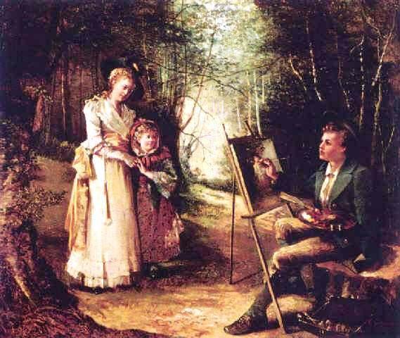 Ernest Desurmont, Der junge Maler mit Modell und Tochter im Wald