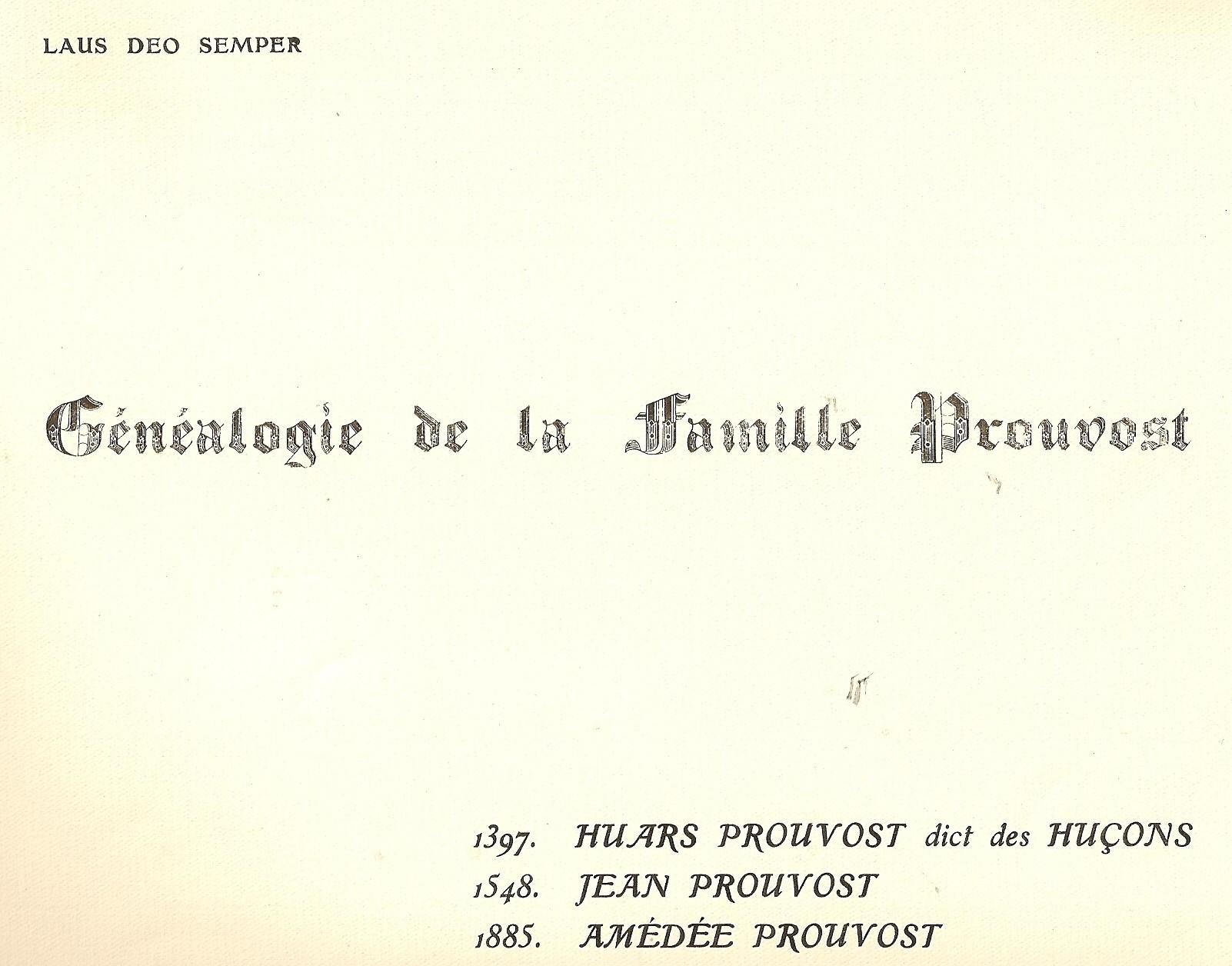 Couverture avec devise Prouvost Laus Deo Semper
