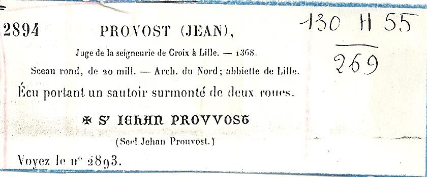 Jehan Prouvost, juge de la Seigneurie de Croix à Lille en 1368
